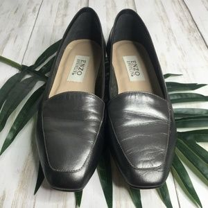 Enzo Angiolini Shoes - Enzo Angiolini Silver Gray Leather Flats Loafers